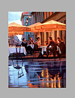 IARTS® Hand Painted Modern Abstract City Afternoon Break At Local Coffee Shop Oil Painting On Canvas with Stretched Frame Wall Art For Home Decoration