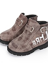 Boys' Boots Walking Comfort Combat Boots Leather Winter Casual Outdoor Buckle Hook & Loop Plaid Low Heel Camel Ruby Gray Flat