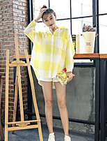 Women's Casual/Daily Simple Shirt,Check Stand Long Sleeves Cotton