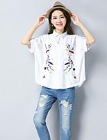 Women's Casual/Daily Simple Shirt,Print Shirt Collar Short Sleeves Linen