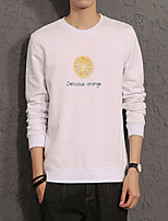 Men's Plus Size Casual/Daily Simple Sweatshirt 3D Print Round Neck Micro-elastic Cotton Long Sleeve Spring Fall
