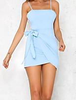 Damen Etuikleid Kleid-Ausgehen Lässig/Alltäglich Street Schick Solide Gurt Mini Ärmellos Baumwolle Sommer Hohe Hüfthöhe Unelastisch Mittel