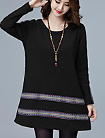 Women's Plus Size Casual/Daily Simple Loose Dress,Print Round Neck Above Knee Long Sleeves Acrylic Fall Mid Rise Inelastic Thick