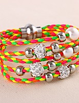 Women's Leather Bracelet Wrap Bracelet Multi Layer Fashion Punk Simple Style Leather Rhinestone Circle Jewelry For Wedding Daily Office &