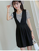 Women's Going out Simple Summer T-shirt Skirt Suits,Striped Round Neck Short Sleeve