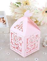 10 Фавор держатель-Кубик Картон Розовая бумага Коробочки Подарочные коробки
