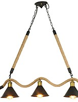 Винтажная промышленная конопляная веревка металлическая подвеска лампа 3 головка люстра гостиная столовая свет светильник