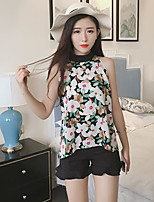 Women's Casual/Daily Simple Blouse,Floral Round Neck Sleeveless Polyester