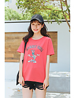 Women's Party Sexy T-shirt,Solid Round Neck Short Sleeves Cotton