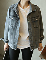 Women's Casual/Daily Simple Summer Denim Jacket,Solid Shirt Collar Long Sleeve Short Others