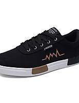 Men's Sneakers Comfort Fabric Spring Fall Casual Lace-up Flat Heel Black/White Black/Gold Gray Flat