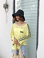 Women's Casual/Daily Simple T-shirt,Striped Off Shoulder Long Sleeves Cotton