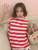 Women's Casual/Daily Simple T-shirt,Striped Round Neck Sleeveless Cotton