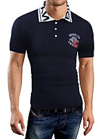 Men's Casual/Daily Simple T-shirt,Solid V Neck Short Sleeve Blue Red Black Gray Cotton