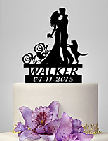 Personalized Acrylic Couple And Dog Wedding Cake Topper