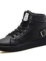 Men's Sneakers Comfort Light Soles Fall Winter PU Casual Outdoor Lace-up Flat Heel Black White Flat