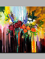 Hand-Painted Flowers Modern Art One Panel Canvas Oil Painting for Home Decoration