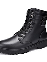 Women's Boots Motorcycle Boots Snow Boots Fashion Boots Winter Real Leather Cowhide Casual Office & Career Outdoor Lace-up Flat Heel Black