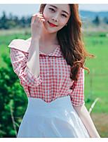 Damen Druck Einfach Lässig/Alltäglich Hemd,V-Ausschnitt Kurzarm Baumwolle Andere