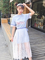 Women's Going out Casual/Daily Simple Street chic Summer T-shirt Skirt Suits,Floral Round Neck Short Sleeve Inelastic