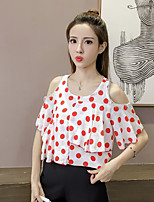Women's Casual/Daily Simple T-shirt,Solid Polka Dot U Neck Short Sleeves Cotton