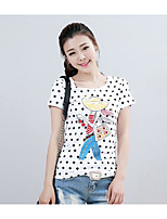 Women's Casual/Daily Cute T-shirt,Solid Polka Dot Print Round Neck Short Sleeves Cotton