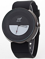 Men's Wrist watch Chinese Quartz Silicone Band Casual Black White