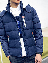 Men's Short Down Coat,Simple Casual/Daily Solid-Cotton White Duck Down Long Sleeve