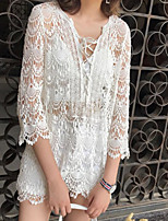 Women's Casual/Daily Simple Blouse,Solid V Neck 3/4 Length Sleeves Polyester