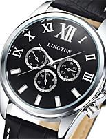 Men's Mechanical Watch Automatic self-winding Calendar Genuine Leather Band Black