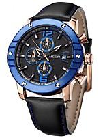 YY MEGIR2046G Megir Chronograph Big Round Dial Leather Strap Sport Quartz Watches for Men Fashion Man's Luminous Calendar Wrist Watch