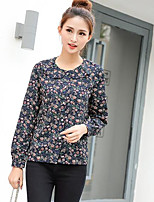 Women's Casual/Daily Simple Blouse,Print Round Neck Long Sleeves Polyester Others