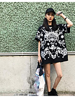 Women's Going out Street chic T-shirt,Print Round Neck Short Sleeves Cotton