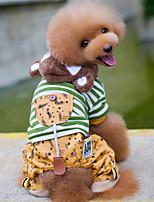 economico -Cane Tuta Abbigliamento per cani Casual Rigato Stelle Grigio Verde Costume Per animali domestici