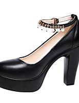 Femme Chaussures à Talons Nouveauté Printemps Eté Automne Hiver Cuir Habillé Soirée & Evénement Imitation Perle Boucle Gros Talon Blanc