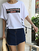 Women's Casual/Daily Simple T-shirt,Letter Round Neck Short Sleeves Cotton