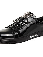 Men's Sneakers Comfort Patent Leather Fall Winter Casual Office & Career Party & Evening Dress Flat Heel Black Flat