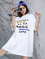 Women's Casual/Daily Simple T-shirt,Striped Letter Round Neck Short Sleeves Cotton