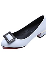 Women's Heels Light Soles PU Summer Casual Dress Block Heel Black White 2in-2 3/4in