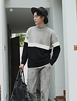 Men's Casual/Daily Simple Short Pullover,Striped Crew Neck Long Sleeves Wool Cotton Others Spring Fall Thin Stretchy