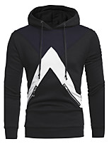Men's Sports Casual/Daily Vintage Hoodie Color Block Hooded Micro-elastic Cotton Polyester Long Sleeve Fall