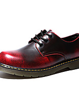 Men's Oxfords Comfort Spring Fall Cowhide Casual Office & Career Party & Evening Zipper Lace-up Flat Heel Wine Brown Gray Black Flat