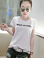 Women's Casual/Daily Simple Blouse,Letter V Neck Short Sleeves Cotton