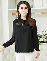 Women's Casual/Daily Simple Blouse,Solid Round Neck Long Sleeves Polyester