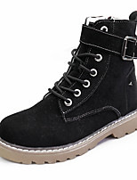 Women's Boots Comfort Spring Fall Fabric Casual Lace-up Flat Heel Khaki Black Flat