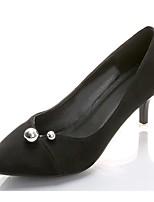 Для женщин Обувь на каблуках Удобная обувь Лето Кашемир Для праздника Бусины На шпильке Черный Красный Розовый 7 - 9,5 см