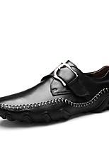 Недорогие -Муж. обувь Кожа Весна Осень Формальная обувь Удобная обувь Мокасины и Свитер для Повседневные Офис и карьера Черный Темно-русый