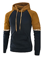 Men's Sports Casual/Daily Active Hoodie Color Block Patchwork Hooded Micro-elastic Acrylic Long Sleeve Fall Winter