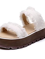 Women's Slippers & Flip-Flops Light Soles Spring Fall PU Casual Dress Creepers Black White Flat