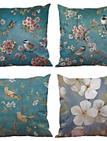 Set of 4  Blue Flowers and Birds Pattern Rayon Material Looks Like Silk Feeling Square Throw Pillow Cases Sofa Cushion Cover (18*18inch)